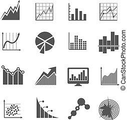 finanziario, affari, misure, icons., analytics, vettore, segni, dati, schemi