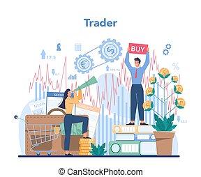 finanziario, analysis., casato, investimento, mercato, concept., commerciante