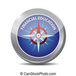 finanziario, bussola, concetto, educazione, segno