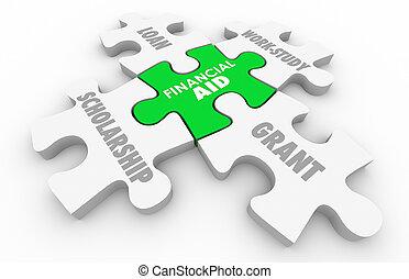 finanziario, concessione, prestito, illustrazione, università, borsa di studio, aiuto, educazione, puzzle, 3d