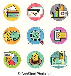finanziario, icona, affari, set