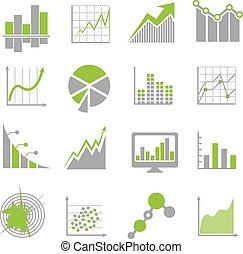 finanziario, icone affari, analisi, analytics, vettore, segni, dati