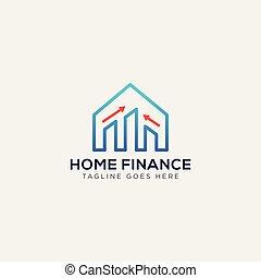 finanziario, illustrazione affari, vettore, casa, sagoma, logotipo, scheda