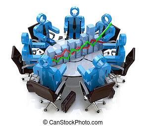 finanziario, persone affari, -, grafico, diagramma, tavola, riunione, rotondo, 3d