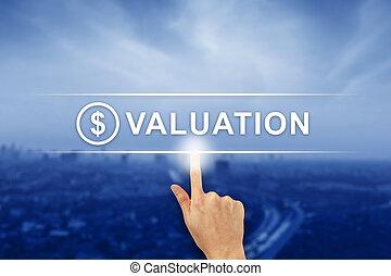 finanziario, scattare, bottone, mano, tocco, valutazione, schermo