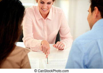 finanziario, soluzione, agente, pianificazione, femmina, assicurazione