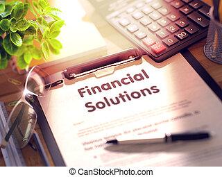 finanziario, titolo, render., clipboard., -, soluzioni, 3d