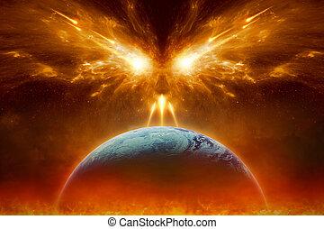 fine, completo, male, pianeta, giorno, mondo, distruzione, giudizio, terra, assoluto