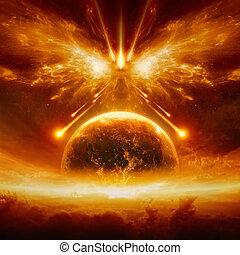 fine, completo, terra pianeta, mondo, distruzione