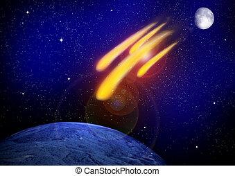 fine, day., asteroide, impatto, giudizio, mondo