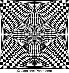 fine, triangolo, scudo, spazio, tridimensional, quadrato, negativo, bandiera, arabesco, illusione
