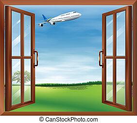 finestra, aereo, aperto, vista