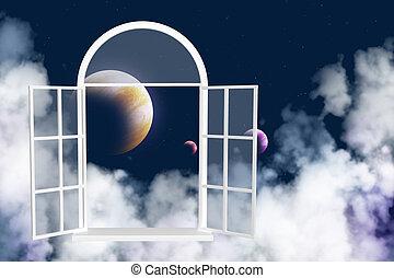 finestra, altro, galassia