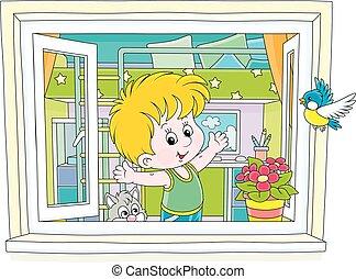finestra, esercizi, poco, mattina, ragazzo