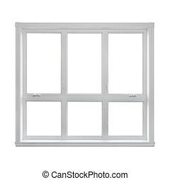 finestra, moderno, isolato, fondo, bianco