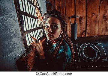 finestra, signora, prison., triste