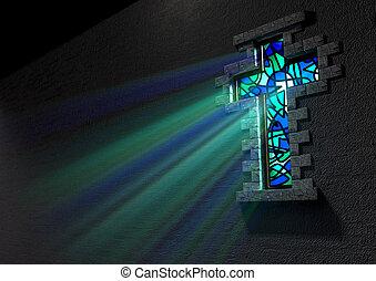 finestra vetro, macchiato, crocifisso
