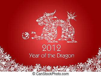 fiocchi neve, cinese, modello, drago, anno, nuovo, rosso