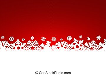 fiocchi neve, luce, natale, fondo, rosso