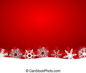 fiocchi neve, luce, sfondo rosso, natale