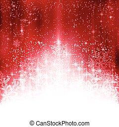 fiocchi neve, luci, fondo, natale bianco, rosso