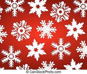 fiocchi neve, natale, fondo, rosso