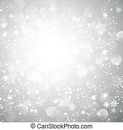 fiocco di neve, natale, fondo, argento