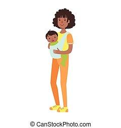 fionda, famiglia, serie, giovane, illustrazione, figlio, madre, bambino, felice, amare