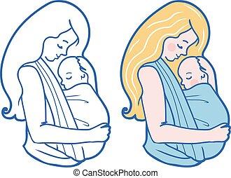 fionda, illustrazione, babywearing, vettore, abbracciare, madre, bambino