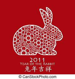 fiore, cinese, coniglio, anno, 2011, rosso