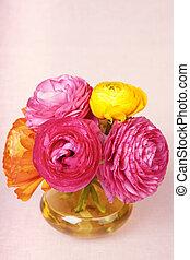 fiore, colorito, vendemmia, giallo, vaso, ranunculus, fondo