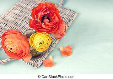 fiore, colorito, vimine, ranunculus, vendemmia, vassoio