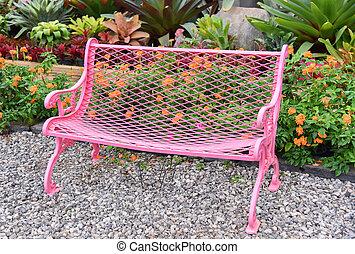 fiore dentellare, giardino, vendemmia, -, panchina