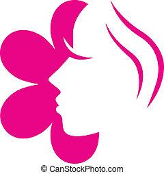 fiore dentellare, ), (, isolato, faccia, femmina, bianco, icona
