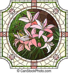 fiore dentellare, lilies., mosaico