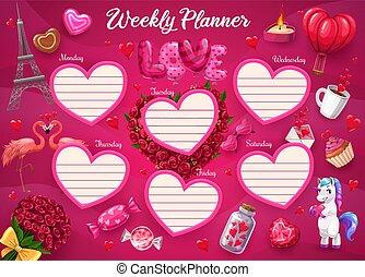 fiore dentellare, unicorno, settimanale, pianificatore, cuore, parigi