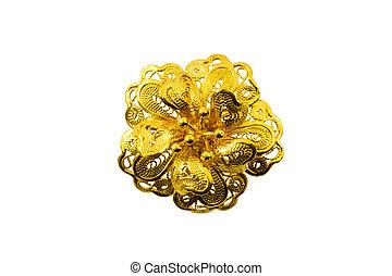 fiore, dorato, jewelry.