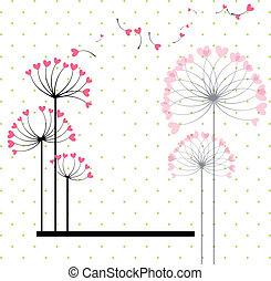 fiore, estratto amore, polka, fondo, puntino
