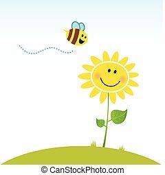fiore, felice, primavera, ape