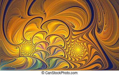 fiore, foglie, illustrazione, ardendo, fondo, notte, fractal