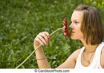 fiore, holding donna, rosso