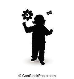 fiore, illustrazione, bambino