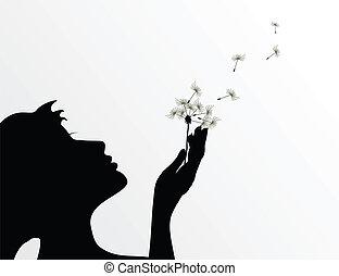 fiore, illustrazione, vettore, dandelion., soffio, ragazza