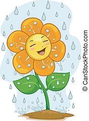 fiore, pioggia, mascotte, sotto