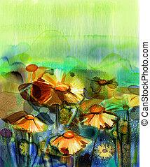 fiore, pittura, acquarello, astratto