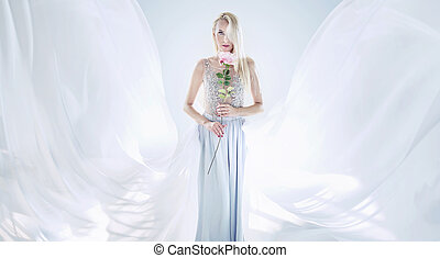 fiore, presa a terra, rosa, lungo, elegante, donna, biondo