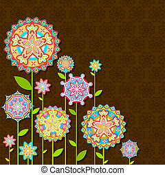 fiore, retro, colorito