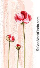 fiore, romantico, fondo