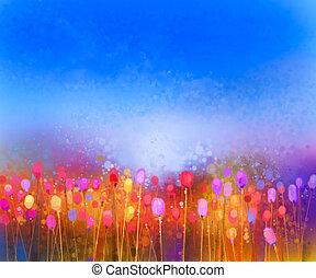 fiore, tulipano, astratto, acquarello, campo, pittura