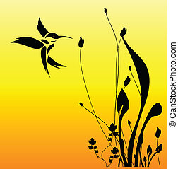 fiore, uccello